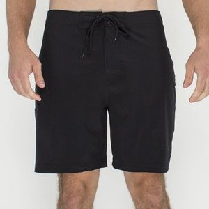Toes on the nose men's black mid length swim trunk